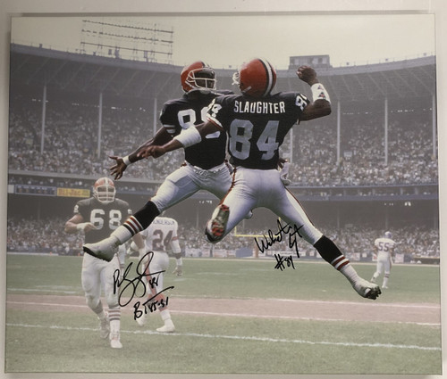 Slaughter & Langhorne Cleveland Browns Autographed 20x24 Canvas 1 - Certified Authentic