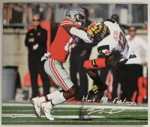 Denzel Ward Ohio State Buckeyes Autographed 20x24 Canvas 3 - PSA Authentic