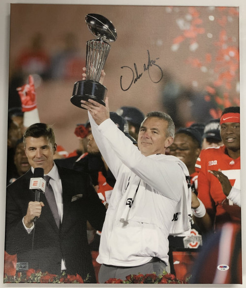Urban Meyer Ohio State Buckeyes Autographed 20x24 Canvas 9 - PSA Authentic