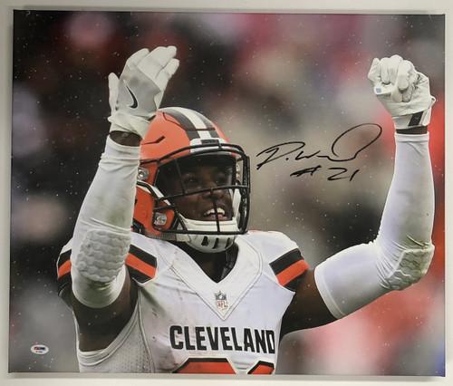 Denzel Ward Cleveland Browns Autographed 20x24 Canvas 3 - PSA Authentic