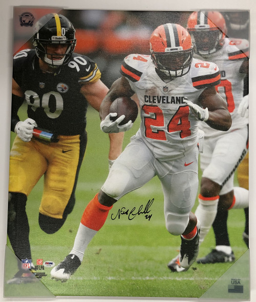Nick Chubb Cleveland Browns Autographed 20x24 Canvas 1 - Certified Authentic