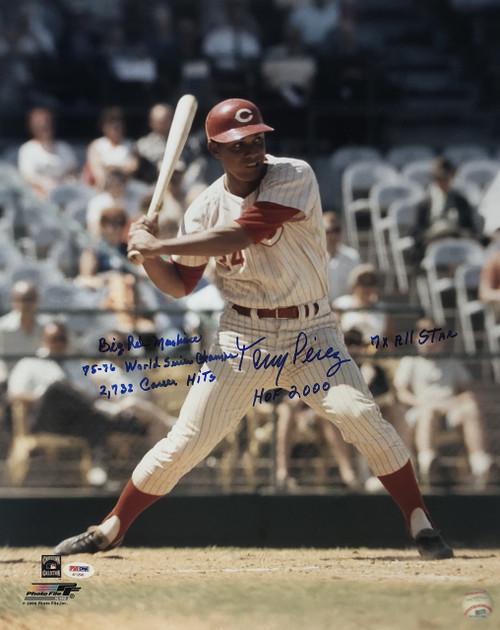 Tony Perez Cincinnati Reds 16-1 w/ Inscriptions 16x20 Autographed Photo - PSA Authentic