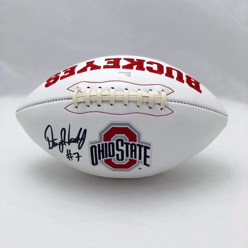 Dwayne Haskins Ohio State Buckeyes Autographed White Panel Football - WITNESS JSA