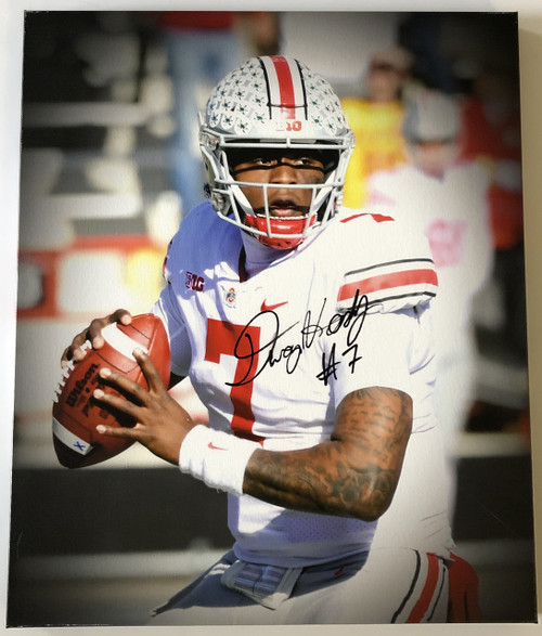 Dwayne Haskins Ohio State Buckeyes 20x24 Autographed Canvas - JSA Authentic