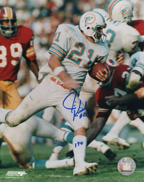 Jim Kiick Miami Dolphins 8-2 8x10 Autographed Photo - Certified Authentic