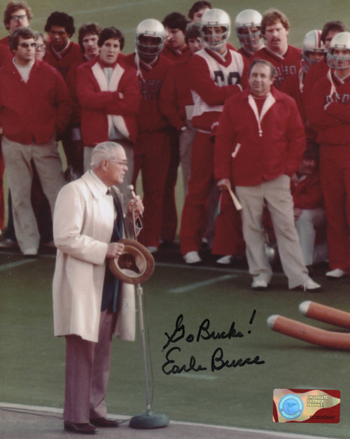 Earle Bruce Ohio State Buckeyes 8-8 8x10 Autographed Photo - Certified Authentic