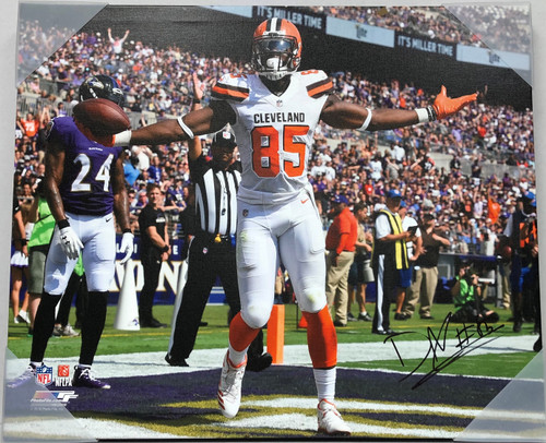 David Njoku Cleveland Browns 20x24 Autographed Canvas - Certified Authentic