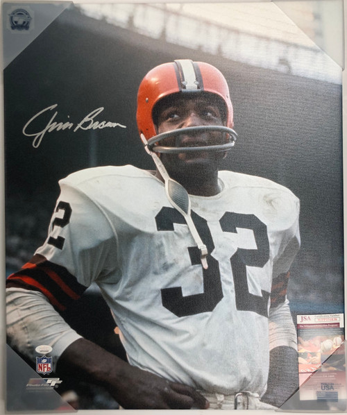 Jim Brown Cleveland Browns 20x24 Autographed Canvas 2 - Certified Authentic