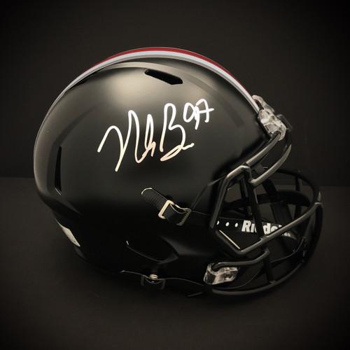 Nick Bosa Ohio State Buckeyes Autographed Black Replica Helmet - Certified Authentic