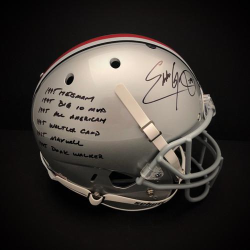 Eddie George Ohio State Buckeyes w/ 6 Inscriptions Autographed Schutt Replica Helmet - JSA Authentic