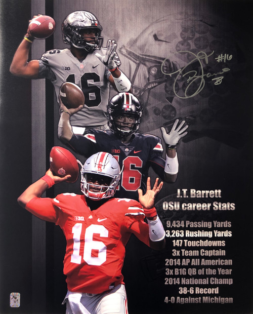 JT Barrett Ohio State Buckeyes 16-11 16x20 Autographed Photo - Certified Authentic