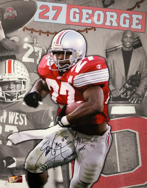 Framed Ohio State Eddie George On The Run Autograph Replica Print