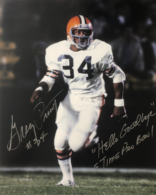 Greg Pruitt Cleveland Browns 'Mr. Hello Goodbye' 16-1 16x20 Autographed Photo - Certified Authentic