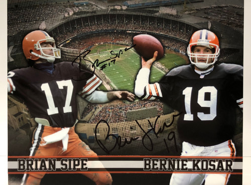 Brian Sipe & Bernie Kosar Cleveland Browns 16-1 16x20 Autographed Photo - Certified Authentic
