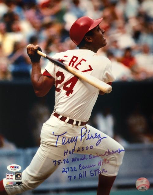 Tony Perez Cincinnati Reds w/ 4 Inscriptions 11-1 11x14 Autographed Photo - PSA Authentic