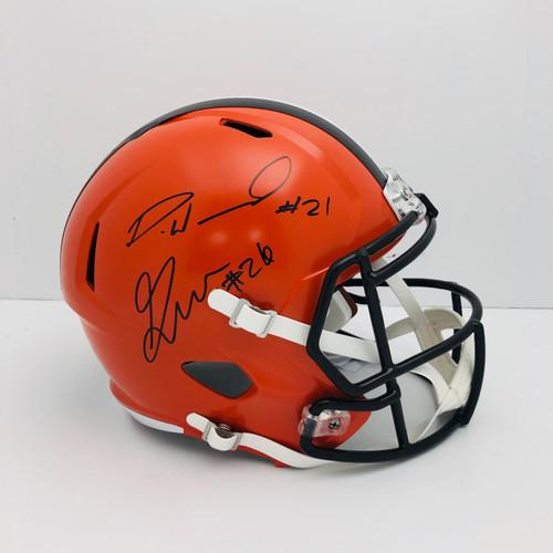 Denzel Ward & Greedy Williams Cleveland Browns Autographed Replica Helmet - JSA & Beckett Authentic