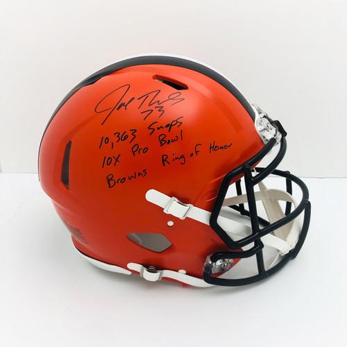 Joe Thomas Cleveland Browns Snaps, Pro Bowl, Ring of Honor Inscriptions Autographed Authentic Helmet - JSA Authentic