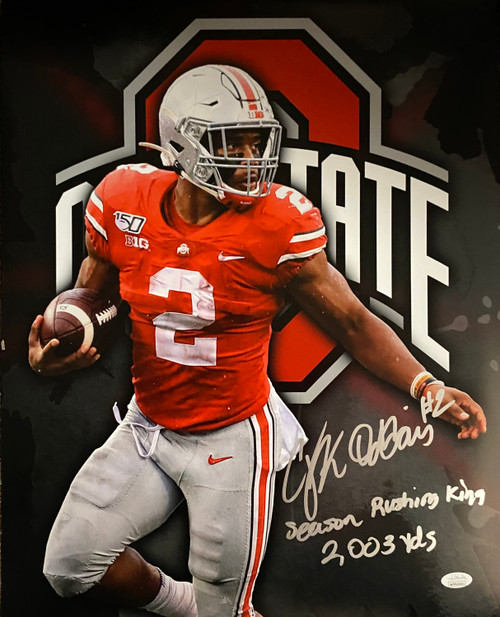 JK Dobbins Ohio State Buckeyes 16-4 16x20 Autographed Photo - JSA Authentic