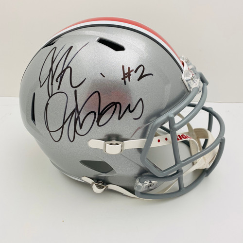 JK Dobbins Ohio State Buckeyes Autographed Speed Replica Helmet - JSA Authentic