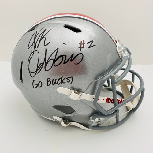 JK Dobbins Ohio State Buckeyes 'Go Bucks' Autographed Speed Replica Helmet - JSA Authentic