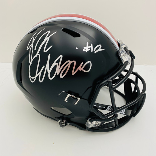 JK Dobbins Ohio State Buckeyes Autographed Black Replica Helmet - JSA Authentic