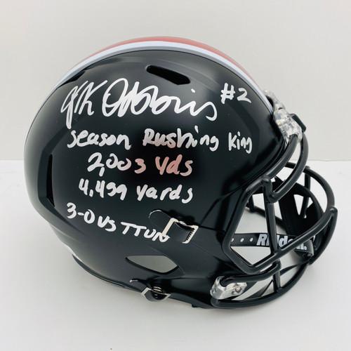 JK Dobbins Ohio State Buckeyes 4x Inscription Autographed Black Replica Helmet - JSA Authentic