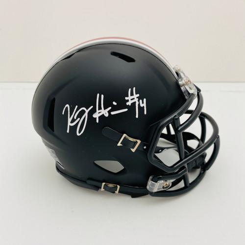 KJ Hill Ohio State Buckeyes Autographed Black Mini Helmet - PSA Authentic