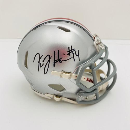 KJ Hill Ohio State Buckeyes Autographed Mini Helmet - PSA Authentic