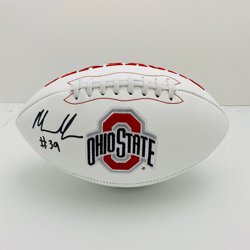 Malik Harrison Ohio State Buckeyes Autographed White Panel Football - Certified Authentic