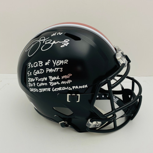JT Barrett Ohio State Buckeyes 5 Insc Autographed Black Replica Helmet - Barrett Authentic