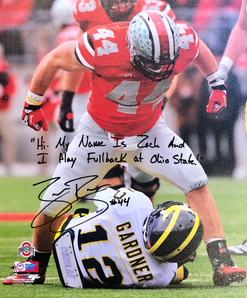Zach Boren Ohio State Buckeyes 20x24 Autographed Canvas w/ Inscription - Certified Authentic