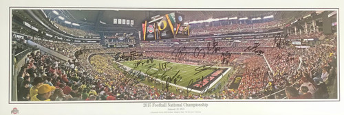2015 National Championship Game Ohio State Buckeyes 24-1 13.5x39 Autographed Panoramic - Certified Authentic