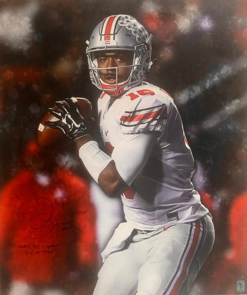 JT Barrett Ohio State Buckeyes 20x24 Autographed Canvas w/ 2 Inscriptions - Certified Authentic