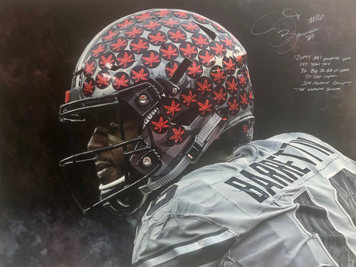 JT Barrett Ohio State Buckeyes 30x40 Autograhed Canvas w/ 6 Inscriptions - Certified Authentic