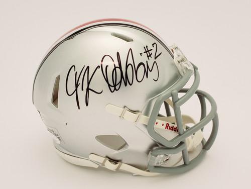 JK Dobbins Ohio State Buckeyes Autographed Speed Mini Helmet - JSA Authentic
