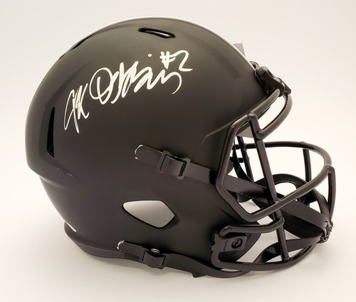 JK Dobbins Ohio State Buckeyes Autographed Black Replica Helmet (White Pen) - JSA Authentic