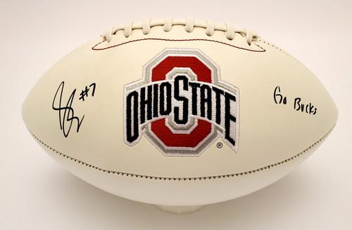 Sevyn Banks Ohio State Buckeyes Autographed White Panel Football - JSA Authentic