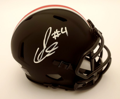 Julian Fleming Ohio State Buckeyes Signed OSU Black Riddell Speed Mini Helmet - JSA Authentic