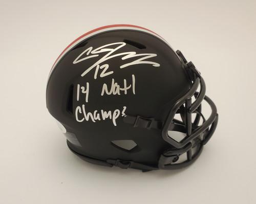 Cardale Jones Ohio State Buckeyes Autographed '2014 National Champs' Black Mini Helmet - JSA Authentic