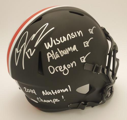Cardale Jones Ohio State Buckeyes Autographed Black 'Checklist' Riddell Speed Replica Helmet - JSA Authentic