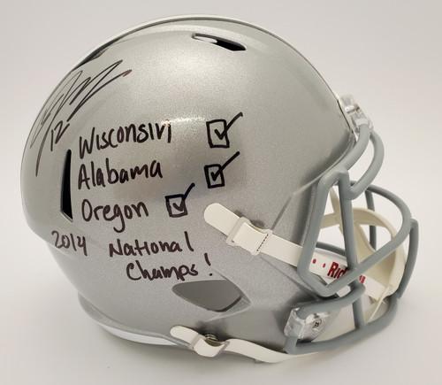 Cardale Jones Ohio State Buckeyes Autographed 'Checklist' Speed Replica Helmet - JSA Authentic