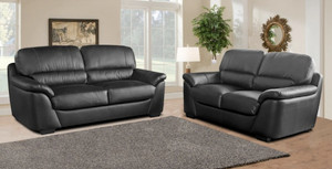 Torino 3 and 2 Seater Black Leather Sofas