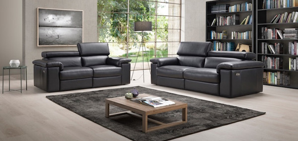 Roma 3 and 2 Seater Black Leather Sofas