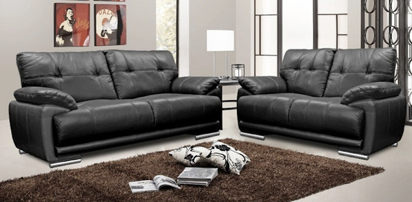 Coco 3 and 2 Seater Black Leather Sofas