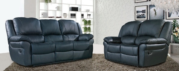 Atlantta 3 and 2 Seater Black Leather Sofas