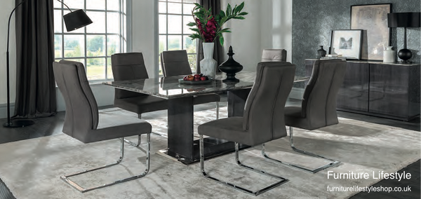 Riva Marble Dining Table and 6 Chairs