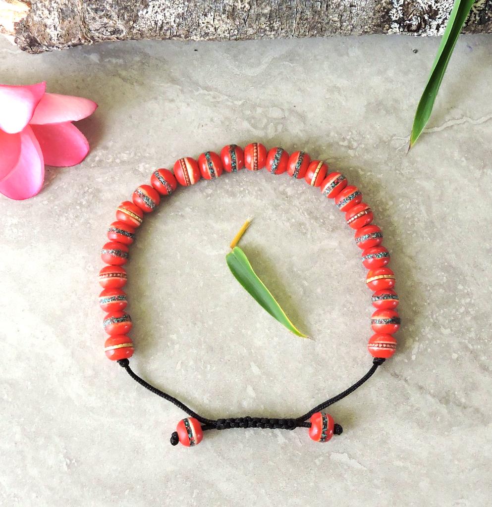 Tibetan Embedded Yak Bone Medicine Healing Wrist Mala for Meditation - Red (7mm)