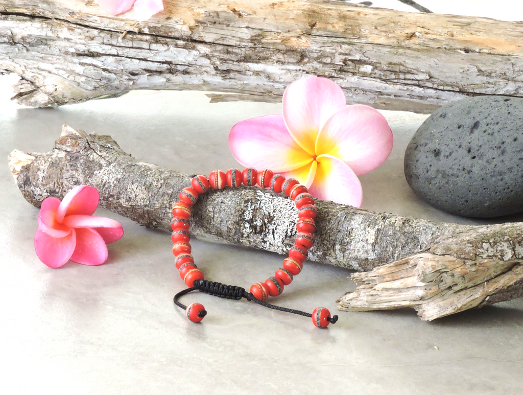 Tibetan Embedded Yak Bone Medicine Healing Wrist Mala for Meditation - Red (7mm)