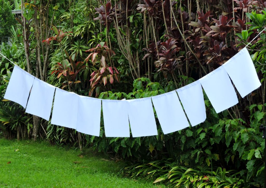 Blank Prayer Flags Set of 10 Flags Put Your own Prayers (White)