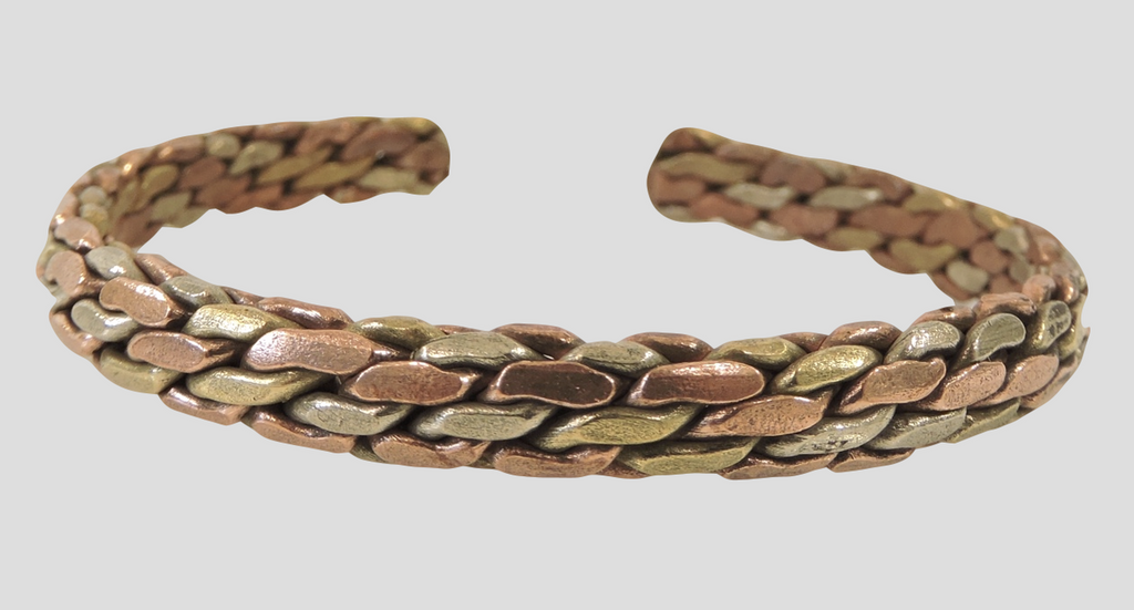 Three Metal Woven Link Cuff Bracelet (4 layer)